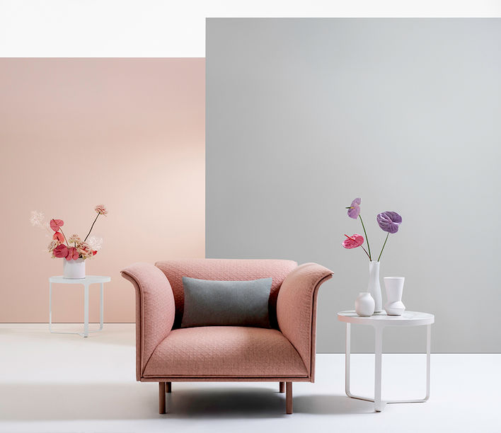 La Primavera Fabric Range designed by Mokum | Featuring Noon Armchair and Cage Side Table
